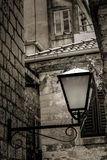The lantern. A wall lantern in the mediterranean old town Stock Photo