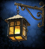 Lantern in the winter night Royalty Free Stock Photo