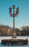 Lantern on winter street Royalty Free Stock Photo