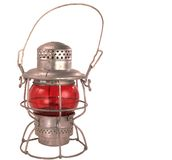 Lanterna antica della ferrovia del cherosene fotografia stock