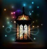 Lanterna araba con il modello ornamentale per Ramadan Kareem Immagini Stock