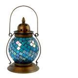 Lanterna azul do vidro e do bronze Imagem de Stock Royalty Free