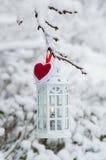 Lanterna bruciante che appende sulla neve del ramo Immagine Stock