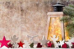 Lanterna com árvore de Natal, decoração do Natal ano novo feliz 2007 Fotos de Stock