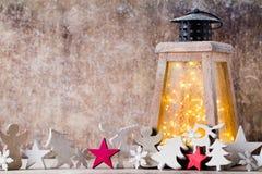 Lanterna com árvore de Natal, decoração do Natal ano novo feliz 2007 Foto de Stock