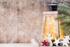 Lanterna com árvore de Natal, decoração do Natal ano novo feliz 2007 Fotografia de Stock