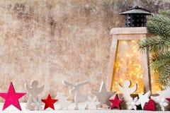 Lanterna com árvore de Natal, decoração do Natal ano novo feliz 2007 Fotografia de Stock Royalty Free