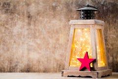 Lanterna com árvore de Natal, decoração do Natal ano novo feliz 2007 Foto de Stock Royalty Free