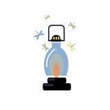 Lanterna com uma vela ardente Voe as traças Imagem do vetor Foto de Stock Royalty Free
