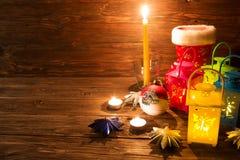 Lanterna com velas, decoração do Natal Fotografia de Stock