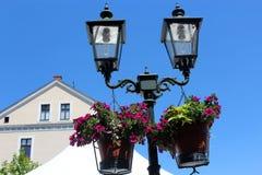 Lanterna con i fiori su un fondo del cielo Fotografia Stock