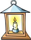 Lanterna con una candela isolata su fondo bianco Fotografia Stock