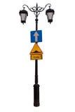 Lanterna d'annata con i segnali stradali ed il nuovo vetro Fotografia Stock Libera da Diritti