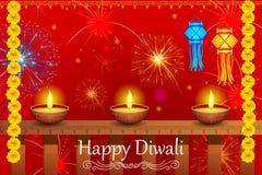 Lanterna d'attaccatura del kandil con il diya per la festa felice di Diwali dell'India Immagini Stock