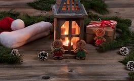 Lanterna de incandescência para o feriado do Natal Foto de Stock Royalty Free