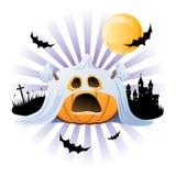 Lanterna de Jack o da abóbora de Halloween no traje do fantasma Foto de Stock Royalty Free