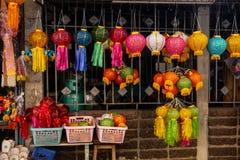 Lanterna de papel colorida para a decoração em Loy Kratong ou em Loi Kra fotografia de stock