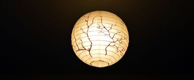 Lanterna de papel com desenho de sakura imagem de stock