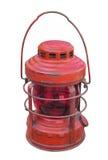 Lanterna de querosene vermelha velha isolada Foto de Stock Royalty Free