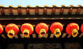 Lanterna decorativa do chinês tradicional, lanterna vermelha chinesa retro, lanterna asiática do leste do vintage Imagens de Stock