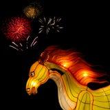 Lanterna del cavallo con il fuoco d'artificio al festival di lanterna, Tailandia Fotografia Stock