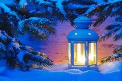 Lanterna della luce della candela di natale Fotografia Stock