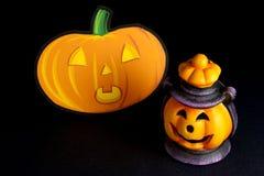 Lanterna di Halloween con la zucca Fotografia Stock
