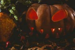 Lanterna di Jack o con le foglie di autunno sulla tavola durante il Halloween Fotografia Stock