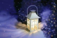 Lanterna di natale bianco Fotografia Stock
