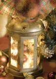 Lanterna di Natale con le luci intense Immagini Stock