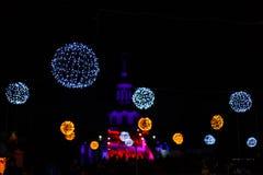 Lanterna di Natale e luci accoglienti Fotografia Stock Libera da Diritti