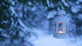 Lanterna di Natale nel legno Foresta di Snowy e una lanterna archivi video