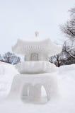 Lanterna di pietra giapponese tradizionale, festival di neve di Sapporo 2013 Fotografia Stock
