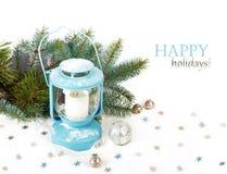 Lanterna di Snowy e palle blu di Natale Immagine Stock