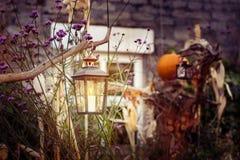 Lanterna e abóbora Foto de Stock Royalty Free