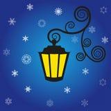 Lanterna e flocos de neve. Foto de Stock Royalty Free