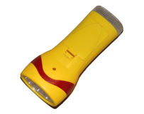 Lanterna elétrica amarela isolada no fundo branco Fotografia de Stock Royalty Free