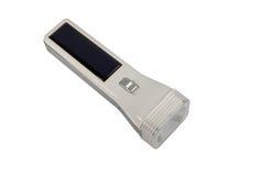 Lanterna elétrica da célula solar isolada no fundo branco Imagem de Stock Royalty Free