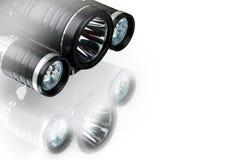 Lanterna elétrica e farol táticos impermeáveis de alumínio anodizados foto de stock royalty free