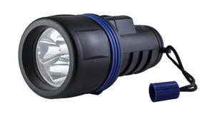 Lanterna elétrica plástica preta com trajeto de grampeamento Fotografia de Stock Royalty Free
