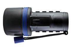 Lanterna elétrica plástica preta com trajeto de grampeamento Fotos de Stock Royalty Free