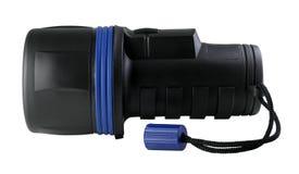 Lanterna elétrica plástica preta com trajeto de grampeamento Fotografia de Stock