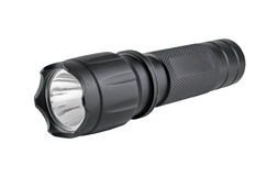 Lanterna elétrica preta do metal com trajeto de grampeamento Fotografia de Stock Royalty Free