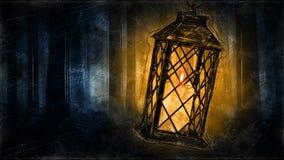 Lanterna em uma floresta escura - laço assustador da vela da animação do Dia das Bruxas movimentos video estoque