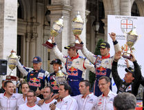 Lanterna Rally Race 2010. Group photo of the the first three crews arrived at finish line in the race of this year. First position for Ogier - Ingrassia , second Royalty Free Stock Photos