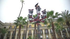 A lanterna real da plaza projetou pelo arquiteto espanhol Gaudi, viagem a Barcelona, Espanha filme