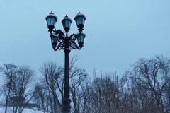 Lanterna retro no parque do inverno fotografia de stock royalty free