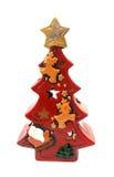 Lanterna rossa dell'albero di Natale per la candela Immagine Stock