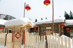 Lanterna rossa e neve bianca Fotografia Stock Libera da Diritti
