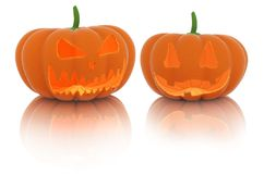 Lanterna spaventosa della zucca di Halloween con una candela dentro fotografia stock